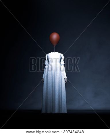 Headless Ghost Woman In White With Red Balloon,3d Rendering