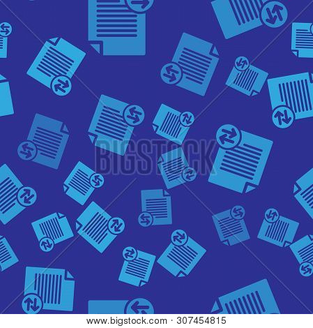 Blue Transfer Files Icon Isolated Seamless Pattern On Blue Background. Copy Files, Data Exchange, Ba
