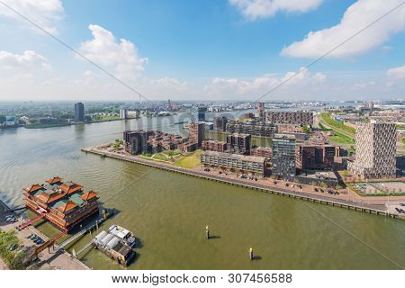 Rotterdam, Netherlands - April 29, 2019 : Skyline Aerial View With Chinese Pagoda Style Hotel Restau