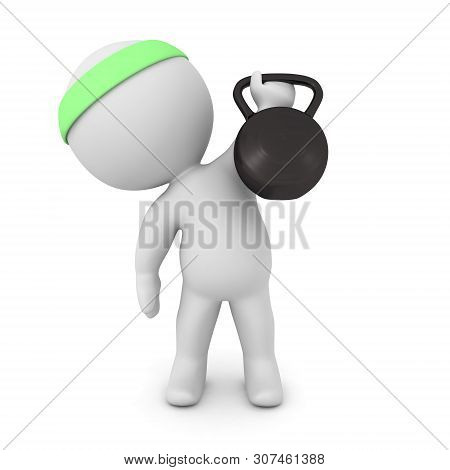 3D Character Lifting Kettlebell