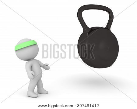 3D Character Holding Kettlebells In His Hands