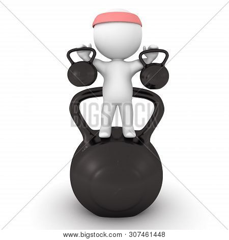 3D Character Holding Kettlebells And Standing On A Bigger One