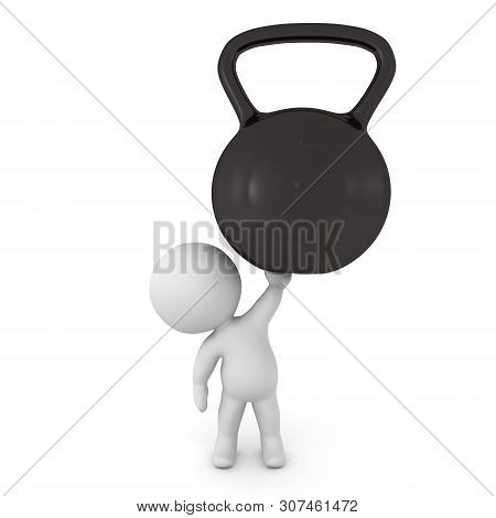 3D Character Holding Up A Big Kettlebell