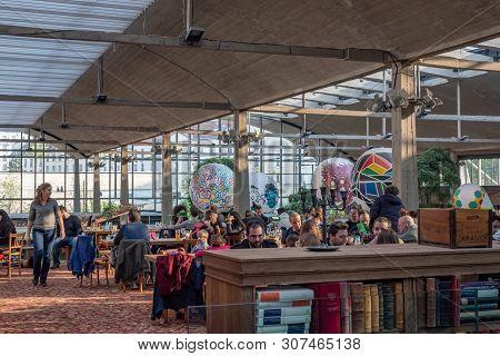 Paris, France - April 15, 2019 : People In La Felicita Italian Bar-restaurant - Big Mama Concept - I