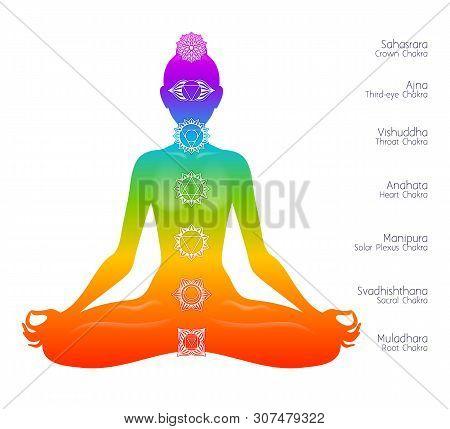 Colorful Meditating Woman Silhouette And Chakras. Spiritual Meditation Elements Vector Symbols.