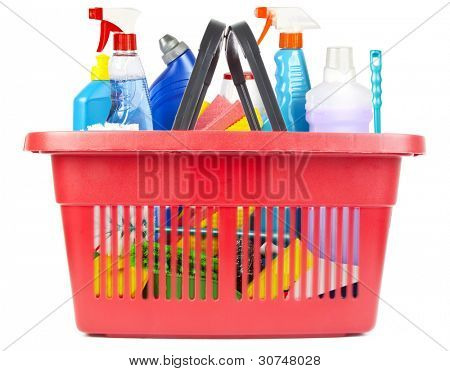 Many cleaning tools and products in shopping basket