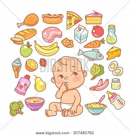 Curios child with finger in mouth choosing food. poster