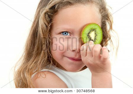 Close Up Of Blond Girl Holding Fruit.