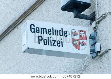 Vaduz, Liechtenstein - June 1, 2019: Gemeinde Polizei Sign In Vaduz.