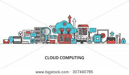 Modern Flat Thin Line Design Vector Illustration, Concept Of Cloud Computing Technologies, For Graph