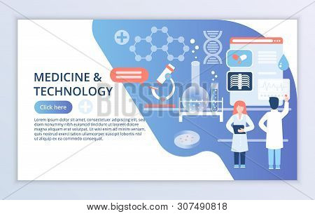Creative Website Template Of Medicine And Technology Concept, Modern Flat Design Vector Illustration