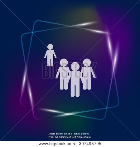 Vector Neon Light Image Of A Crowd Of People And One Person Standing Aside. A Person Different From