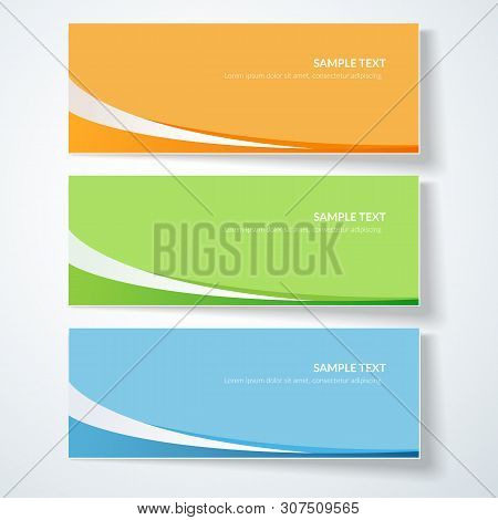 Card With Abstract Wavy Lines Orange Blue Green Curved Lines On A Colored Background Creative Card T
