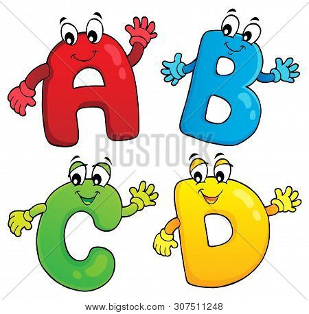 Cartoon Abcd Letters Theme 2 - Eps10 Vector Picture Illustration.