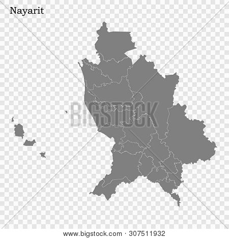 High Quality Map Of Nayarit Is A State Of Mexico, With Borders Of The Municipalities