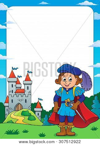 Prince And Castle Theme Frame 4 - Eps10 Vector Picture Illustration.