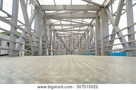 Low View Angle Steel Flyover Passage Way Or Bridge At Bengaluru, India