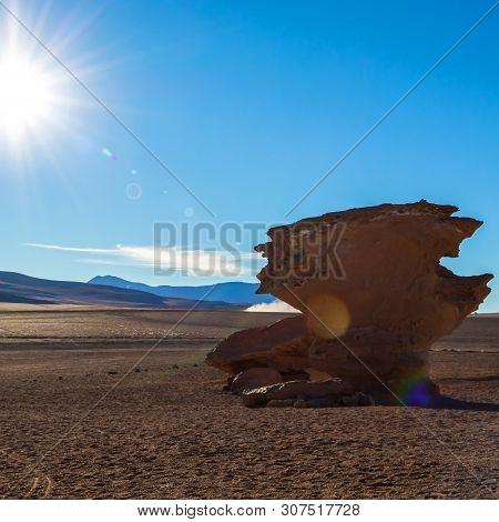 Unique Landscape Of The Siloli Desert With Stone Tree Arbol De Piedra In The Valley Of Rocks, Bolivi