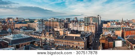 Glasgow / Scotland - February 15, 2019: A Wide Panoramic Looking Out Over Buildings And Streets In G