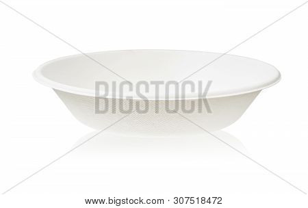 Bagasse Bowl For Food Isolated On White Background, Saved Clipping Path. It Is Made From Nature Go G