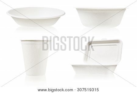 Set Of Bagasse For Food Isolated On White Background. It Is Made From Nature Go Green