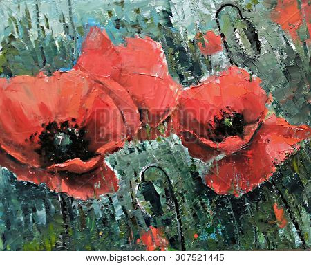 Large Red Poppies On The Field - Oil Painting By Palette Knife. Big Red Flowers. Handmade Oil Painti