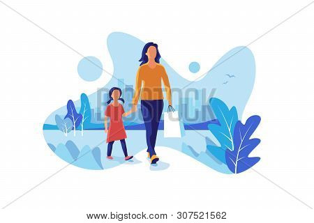 Happy Mother And Daughter Shopping In The City. Mum And Child Kid Walking With Shopping Gift Bag In