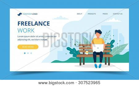 Freelance Work Page Template. Man Working With Laptop In The Park. Illustration For Freelancing, Rem