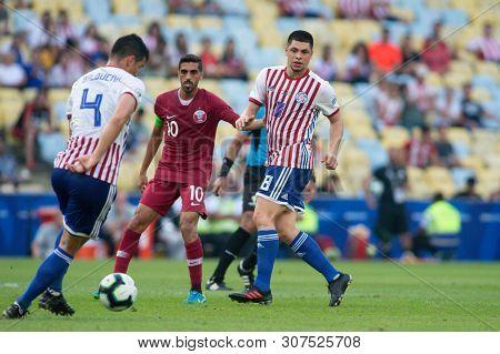 Rio De Janeiro, Brazil - June 16, 2019: R. Rojas Of Paraguay Kicks The Ball During The 2019 America