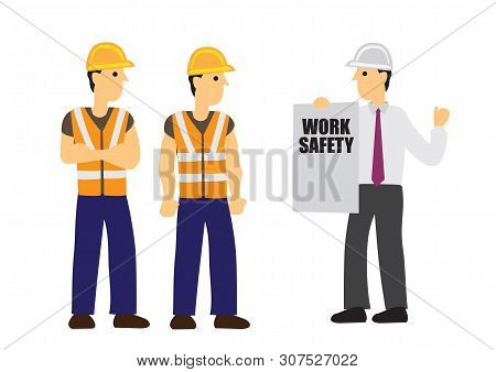 Contractor Briefs Work Safety To His Construction Workers. Concept Of Work Safety And Teamwork. Flat