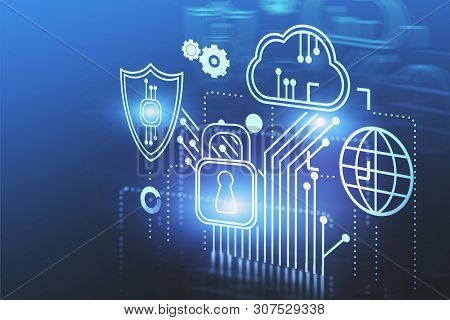 Cloud Computing And Cyber Security Interface Over Dark Blue Background. Concept Of Data Protection.