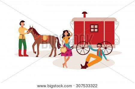Gypsies Or Romani Traditional People Characters Flat Vector Illustration Isolated.