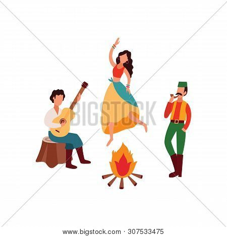 Gypsies Or Romani People Playing Guitar And Dancing Flat Vector Illustration Isolated.