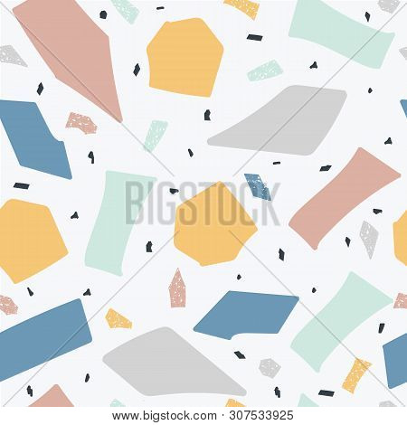 Terrazzo Floor Marble Seamless Handcrafted Pattern The Abstract Vector Illustration.