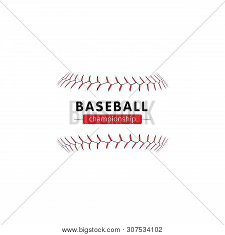 Baseball Championship Banner - Isolated Softball Seam Laces Without The Ball And Text Template