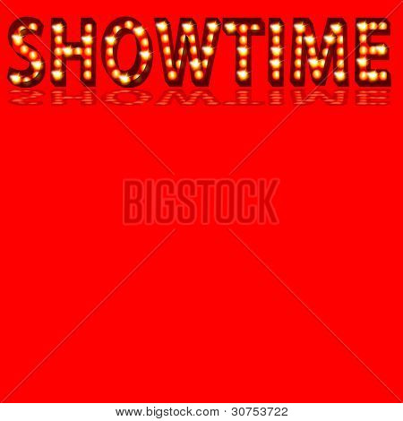 An image of a theatrical lights 3D showtime text.