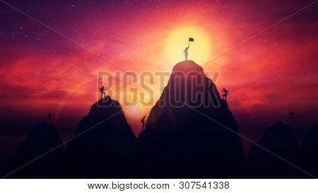 Self Overcome Concept As A Person On The Top Raises The Finish Flag After Climbing The Mountain Obst