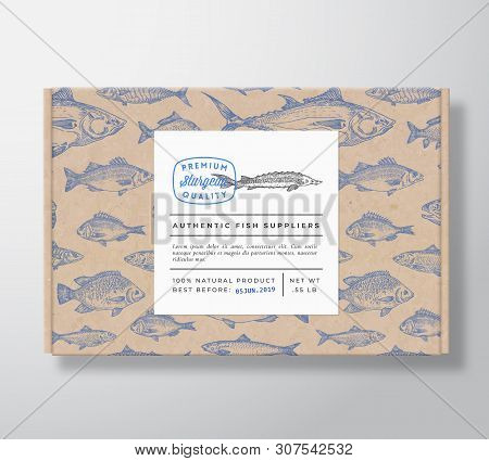 Fish Pattern Realistic Cardboard Box With Banner. Abstract Vector Packaging Design Or Label. Modern