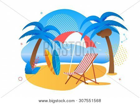 Rest Zone On Tropical Beach For Tourists Cartoon. Chaise Lounge Or Deck-chair Under Umbrella, Two Su