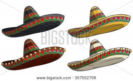 Cartoon Colorful Traditional Ornate Mexican Hat Sombrero. Isolated On White Background. Vector Icon