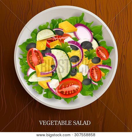 Fresh And Healthy Vegetable Salad On Wooden Background