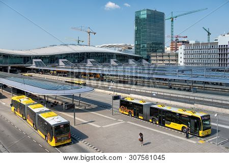 Utrecht, The Netherlands - May 15, 2018: City Buses Arriving At Bus Station Near Main Railway Statio