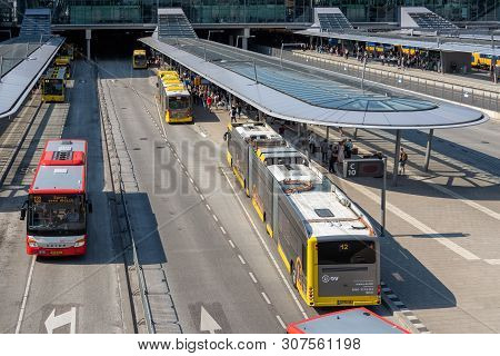 Utrecht, The Netherlands - May 15, 2018: Articulated City Buses Arriving And Leaving At Bus Station