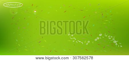 Breezy Space And Signs Confetti. Funny Colorific Illustration. Background Modern. The Good Ultra Wid