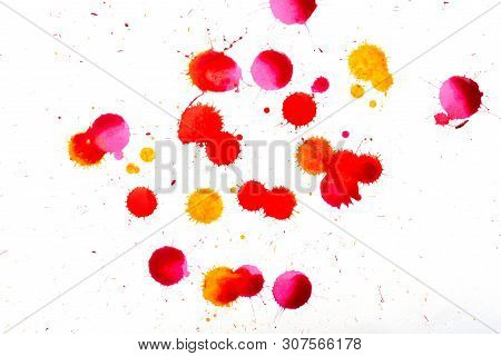 Multicolour Paint Splash On White Canvas. Splatter Isolated From Different Color Paint And Ink