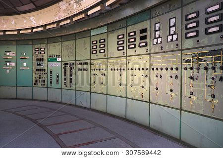 Control Room With Dials In Defunct Power Station