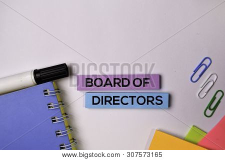 Board Of Directors On Sticky Notes Isolated On White Background.