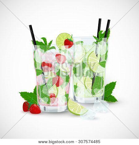 Vector Cartoon Illustration Of Strawberry And Classic Mojito Cocktails. Two Glasses Of Fresh Mojito