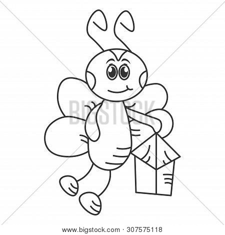 Happy Hornet With A Flashlight. Outline Drawing. Vector Illustration
