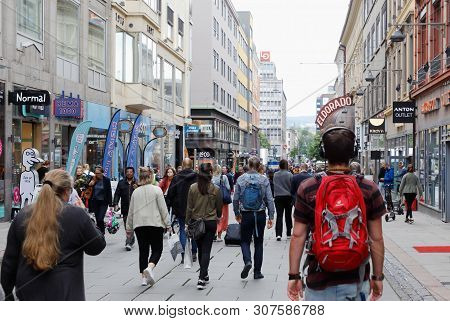 Oslo, Norway -june 20, 2019: People Walking On The Torggata Pedestrian Street In The Downdtown Distr